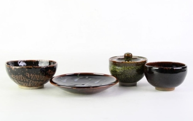 Studio Pottery Wares in Brown & Black Tones, stamped and marked to bases, diameter of largest bowl 14.5cm