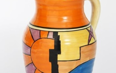 Sunray' a Clarice Cliff Bizarre single-handled Isis vase,...