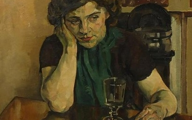 T Bourdon - Female at a table with a glass, oil on