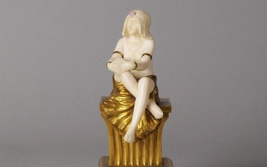 Theophile Somme (French, 1871 ~ 1952) Hand carved ivory & gilt bronze study of a seated dancer, signed Th Somme. Circa 1920. Height 18 cm.