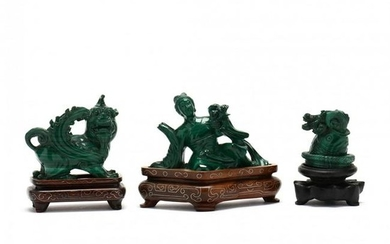 Three Chinese Carved Malachite Sculptures