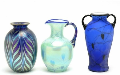 Three Dave Fetty for Fenton Glass Pieces.