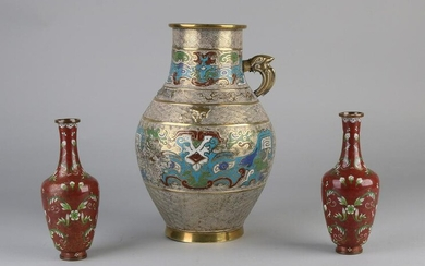 Three Japanese Cloisonne vases. One time set Floral /