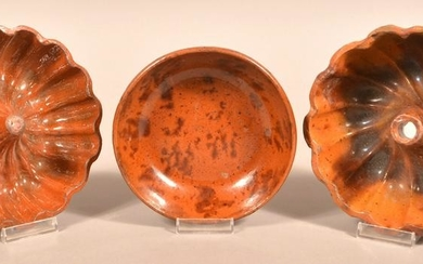 Three Pieces of Antique Mottle Glazed Redware Pottery.
