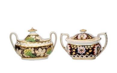 Two 19th Century Staffordshire sucriers, the first decorated...