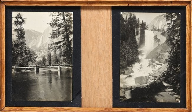 Two Antique Oak Framed Yosemite Photos c1900s