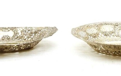 Two German silver pierced dishes