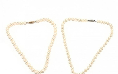 Two Gold and Pearl Necklaces
