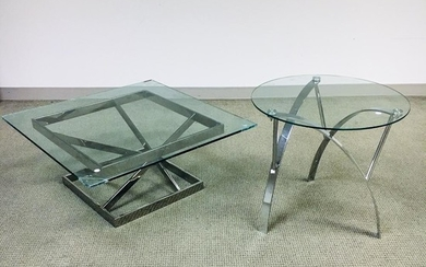 Two Modern Glass-top Chromed Metal Tables, ht. to 23 3/4, lg. to 36 in.