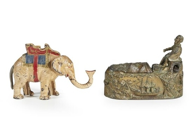 Two cast iron mechanical banks 19th/20th century Comprised of...