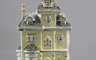 Unique Glazed Ceramic House Cookie Jar with Roof Cover.