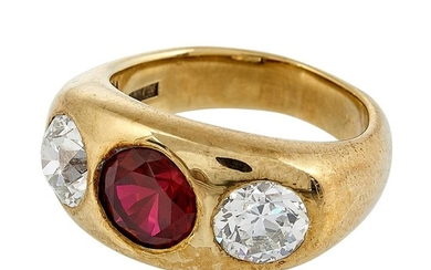Victorian yellow gold, Old European cut diamond and synthetic ruby ladies ring size: 5 3/4
