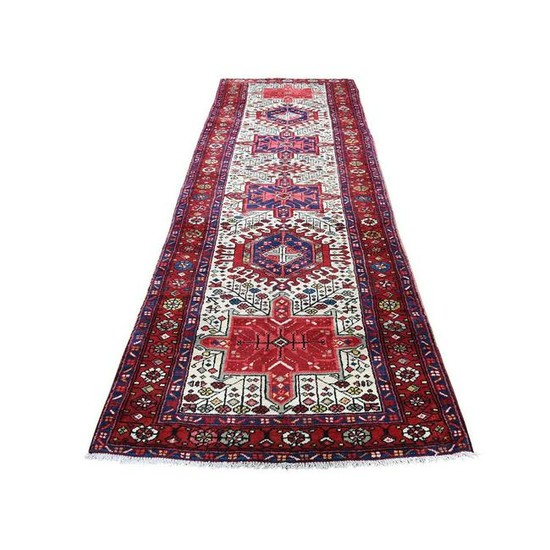 Vintage Persian Heriz Pure Wool Hand-Knotted Runner