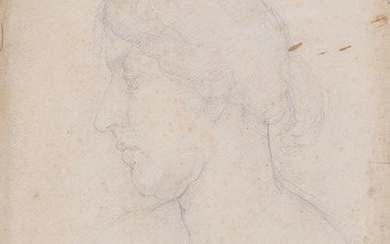 WOMAN'S HEAD LEFT PROFILE Pencil on paper Unsigned...