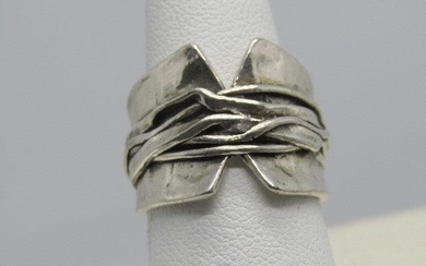 Wide Sterling Silver Statement Ring, Wrapped Design.