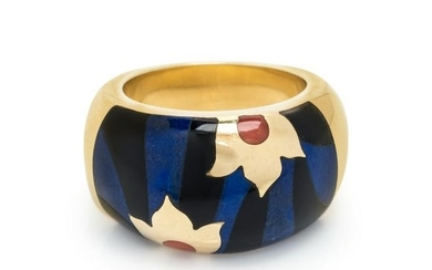 YELLOW GOLD AND GEMSTONE INLAY RING
