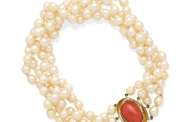 a cultured pearl, coral and diamond necklace