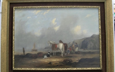 """circle of William Shayer (1811-1892) oil """"Figures on the bea..."""