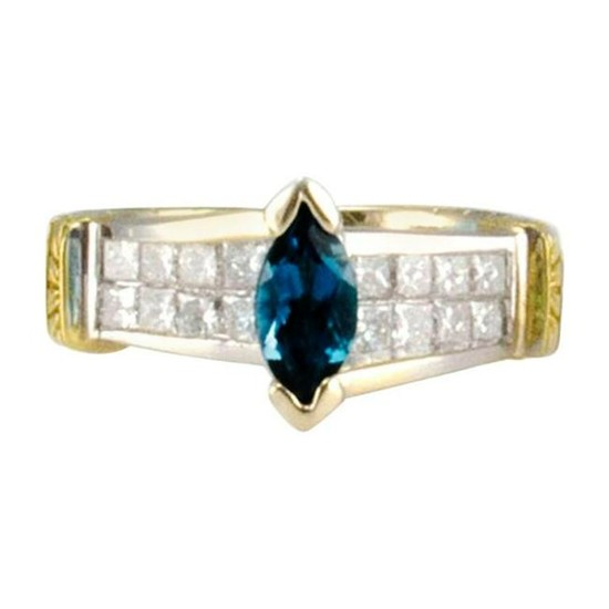 0.60 Carat London Blue Topaz and Invisible Set Princess