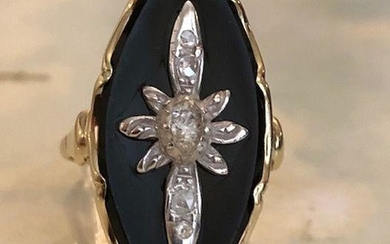 14 kt. Silver, Yellow gold Ring with 0.30 ct Diamond