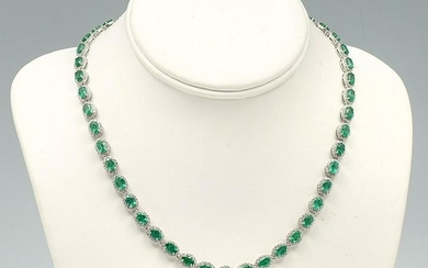 14K 25.0 CTW EMERALD & DIAMOND NECKLACE