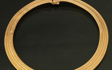 14K YELLOW GOLD MESH NECKLACE; 47.4 GRAMS