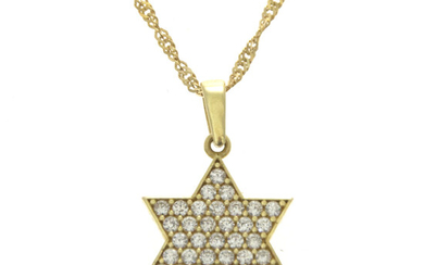 14k Yellow Gold Star of David Necklace.
