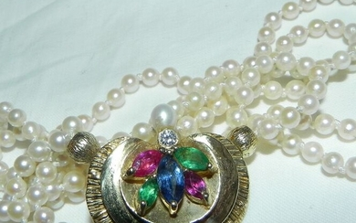 15 kt. Gold - Necklace gold genuine natural pearl necklace with sapphire, ruby, emerald, diamond Pearl