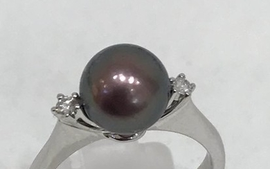 18 kt. Tahitian pearl, White gold, 8 mm - Ring - Diamonds