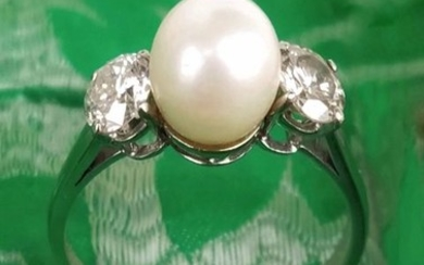 18 kt. White gold - Ring - 0.95 ct Diamond - Pearl