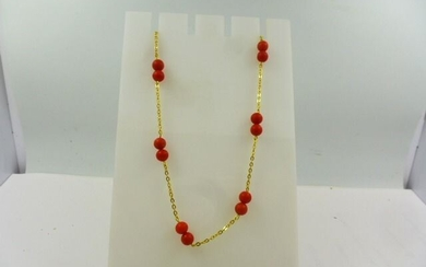 18 kt. Yellow gold - Necklace Sardinian red coral