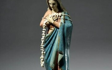 18th C. Spanish Colonial Wood Santo - Mary w/ Rosaries