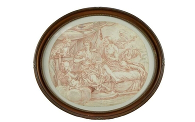 18th century Continental school, pen, ink and wash, Classical scene, oval