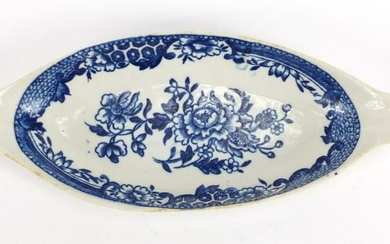 18th century Liverpool blue and white spoon tray,