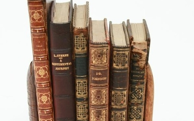 19th Century Leather Bound Books with Bookends, 6