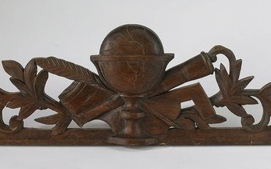 19th c. Continental relief carved walnut pediment