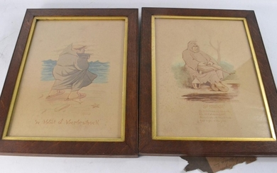 2 oak framed vintage comical watercolours of Ye Abbot of Abe...