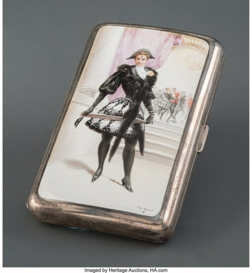 28055: A French Partial Gilt Silver and Enamel Erotic C