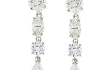 3.69 Carat Total Marquise and Round Diamond Dangle