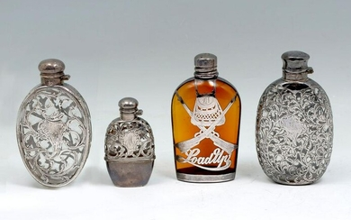 4 PIECE STERLING SILVER OVERLAY FLASK COLLECTION