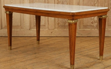 FRENCH OAK MARBLE COFFEE TABLE ATTR. TO JANSEN