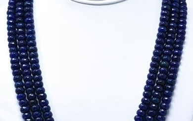 600 Carat Faceted Blue Sapphire Bead Necklace