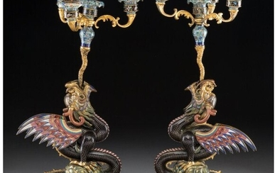 78255: A Pair of Chinese Cloisonné and Gilt Bron