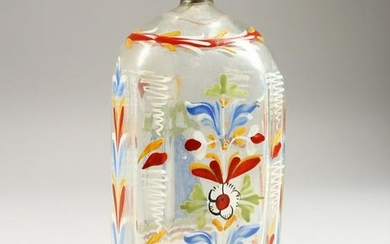 A 19TH CENTURY DUTCH GLASS FLASK, painted with a female