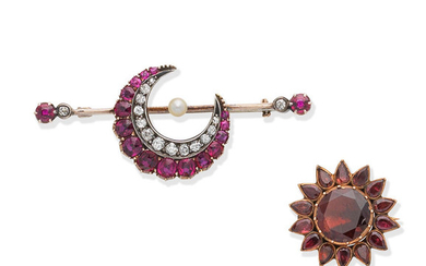 A 19th century garnet flower brooch, and a late 19th century ruby, diamond and pearl crescent brooch