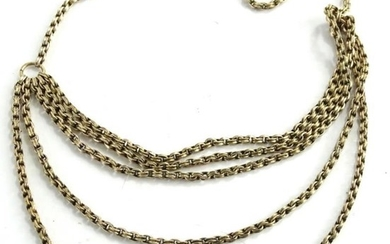 A 9ct gold necklace, with five row graduated necklace...
