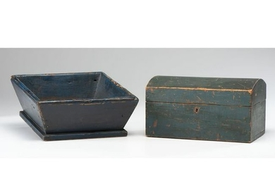 A Blue-Painted Pine Domed Lid Box and Apple Box