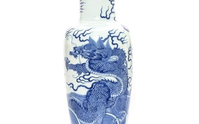 A Blue and White Dragons Bottle Vase