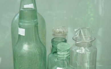 A COLLECTION OF ANTIQUE GLASS BOTTLES COMPRISING: A.ROSEL, MILLEWA FACTORY, ECHUCA, ABORIGINAL TRADEMARK; WALKER AND HALL, SHEFFIELD...