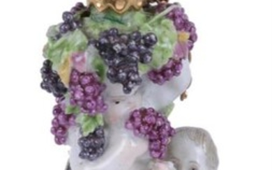 A Charles Gouyn St. James's factory type scent bottle and stopper of Bacchic putti with a faun